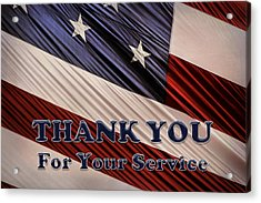 Acrylic Print featuring the photograph Usa Military Veterans Patriotic Flag Thank You by Shelley Neff