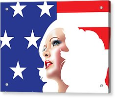 Usa Pin Up Girl Acrylic Print by Brian Gibbs