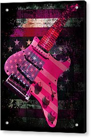 Acrylic Print featuring the photograph Usa Pink Strat Guitar Music by Guitar Wacky