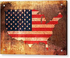 Usa Star And Stripes Map Acrylic Print