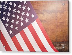 Usa Stars And Stripes Flag On Dark Wood Acrylic Print