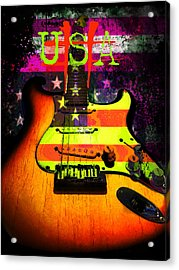Acrylic Print featuring the photograph Usa Strat Guitar Music by Guitar Wacky