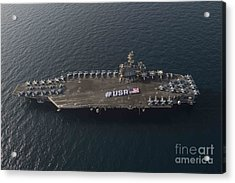 Usa With The American Flag On The Flight Deck Acrylic Print by Celestial Images