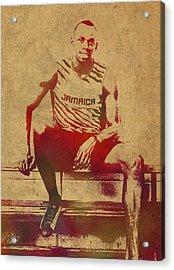 Usain Bolt Sprinter Jamaica Olympics Watercolor Portrait Acrylic Print