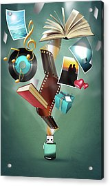 Acrylic Print featuring the digital art Usb Flash Drive 2.0 by Carlos Caetano
