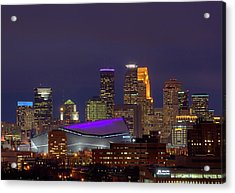 Usbank Stadium Dressed In Purple Acrylic Print