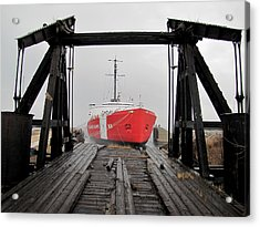 Uscgc Mackinaw Framed By Railroad Elevator Acrylic Print by Keith Stokes