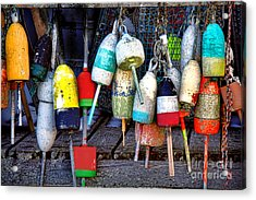 Acrylic Print featuring the photograph Used Lobster Trap Buoys by Olivier Le Queinec