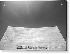 Uss Arizona Memorial In Black And White Acrylic Print by Diane Diederich