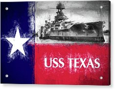 Uss Texas Flag Acrylic Print by JC Findley