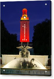 Ut Austin Tower Orange Acrylic Print by Lisa  Spencer