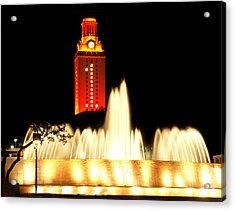 Ut Tower Championship Win Acrylic Print by Marilyn Hunt