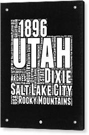 Utah Black And White Word Cloud Map Acrylic Print