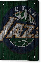 Utah Jazz Wood Fence Acrylic Print by Joe Hamilton