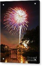 Acrylic Print featuring the photograph Utica Fireworks by Paula Guttilla