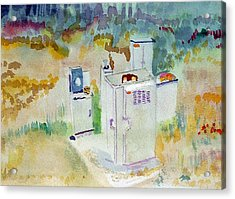 Utility Boxes Near A Forest Acrylic Print