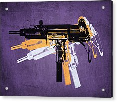 Uzi Sub Machine Gun On Purple Acrylic Print by Michael Tompsett