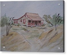 Acrylic Print featuring the painting Vacation Cottage - Kitty Hawk by Joel Deutsch