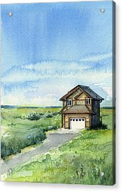 Vacation House In A Field - Watercolor - Long Beach, Wa Acrylic Print by Olga Shvartsur