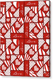 Valentine 4 Square Quilt Block Acrylic Print by Methune Hively