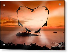 Valentine Bird Acrylic Print by Anek Suwannaphoom