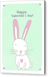 Valentine Bunny- Art By Linda Woods Acrylic Print by Linda Woods
