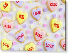 Acrylic Print featuring the photograph Valentine Heart Cookies by Teri Virbickis