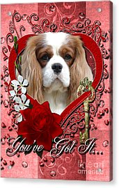 Valentines - Key To My Heart Cavalier King Charles Spaniel Acrylic Print by Renae Laughner