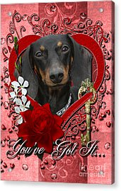 Valentines - Key To My Heart Dachshund Acrylic Print by Renae Laughner