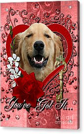 Valentines - Key To My Heart Golden Retriever Acrylic Print by Renae Laughner