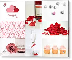 Valentine's Collage Acrylic Print by Serena King