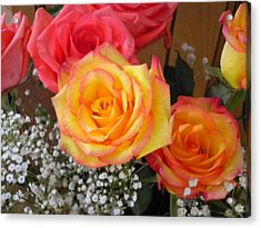 Acrylic Print featuring the painting Valentine's Day Roses 2 by Renate Nadi Wesley