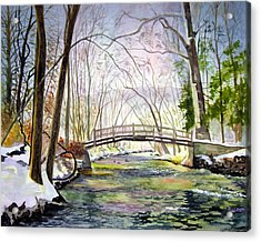 Valley Forge Footbridge Acrylic Print by Paul Temple