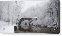 Valley Green Bridge In The Snow Acrylic Print by Bill Cannon
