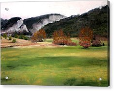 Valley Landscape Early Fall Acrylic Print by Cindy Plutnicki