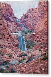 Valley Of Fire Drive Acrylic Print by Rae Tucker