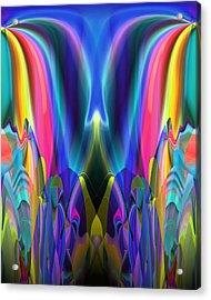 Acrylic Print featuring the digital art Valley Of The Mythic Waterfall by Lynda Lehmann