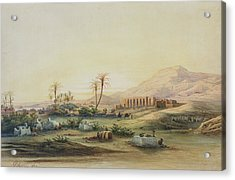 Valley Of The Nile With The Ruins Of The Temple Of Seti I Acrylic Print by Prosper Georges Antoine Marilhat