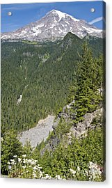 Valley View Of Mt. Rainier Acrylic Print by Larry Keahey