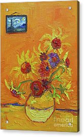Van Gogh Starry Night Sunflowers Inspired Modern Impressionist Acrylic Print