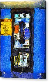 Van Gogh.s Pay Phone . 7d15934 Acrylic Print by Wingsdomain Art and Photography