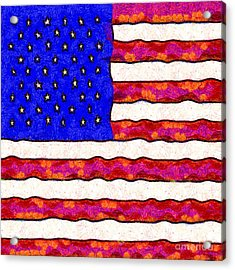 Van Gogh.s Starry American Flag . Square Acrylic Print by Wingsdomain Art and Photography