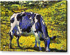 Van Gogh.s Starry Blue Cow . 7d16140 Acrylic Print by Wingsdomain Art and Photography