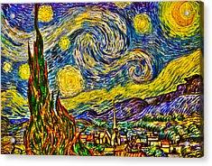 Van Gogh's 'starry Night' - Hdr Acrylic Print by Randy Aveille