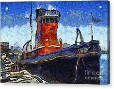 Van Gogh.s Tugboat . 7d14141 Acrylic Print by Wingsdomain Art and Photography