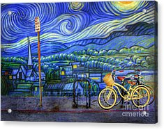 Acrylic Print featuring the photograph Van Gogh's Yellow And Green Bicycles by Craig J Satterlee