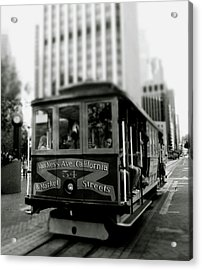 Van Ness And Market Cable Car- By Linda Woods Acrylic Print by Linda Woods