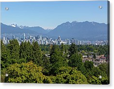 Vancouver Bc City Skyline From Queen Elizabeth Park Acrylic Print by David Gn