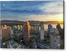 Vancouver Bc Cityscape At Sunset Acrylic Print by David Gn
