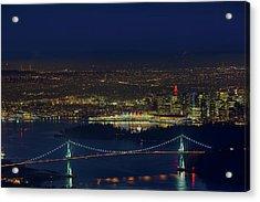 Vancouver Bc Cityscape By Lions Gate Bridge Acrylic Print